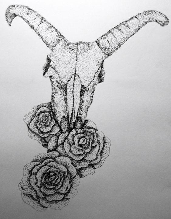 Ram Skull and Roses - Tahlia paige