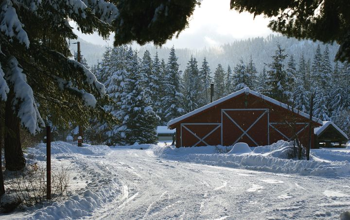 Snowy Barn - David Russell Photography