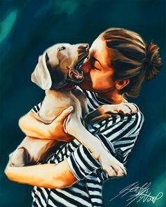 Girl Kissing Puppy
