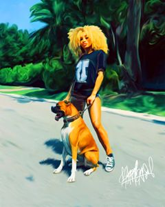 Girl with Boxer Dog