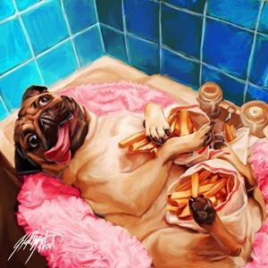 Pug In Sink With French Fries