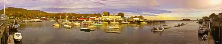Camden Harbor Panoramic in Autumn - Saco River Art & Photography