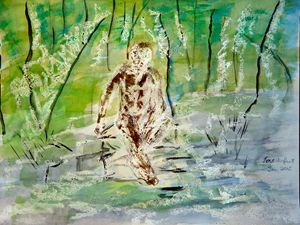 Man Pensive by a Stream