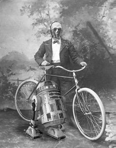 R2D2 and C3PO with vintage bike