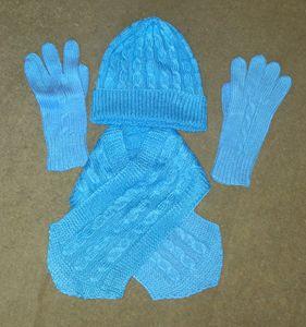 hat scarf gloves set, blue