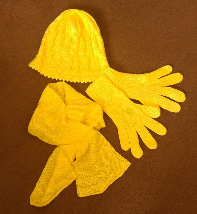 hat scarf gloves set yellow :) - natalija's gallery