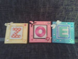 Handmade mini Canvas 3 lettered name