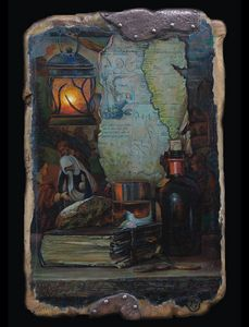 Still life with a map. - Sergey Lesnikov art