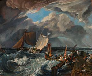 Fishing Boats Entering Calais Harbor - Sergey Lesnikov art