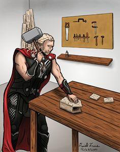 Thor Building a Birdhouse