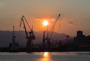 Rijeka port sunset