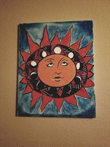Abstract Sun and moon piece