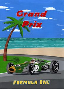 Vintage Retro Formula one GP Poster - Paul's Automobile Art ( Paul Cockram )