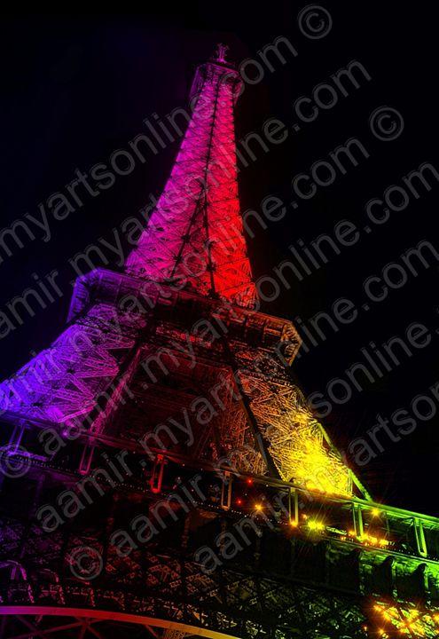 Night Illumination Eiffel Tower - Aamir Show