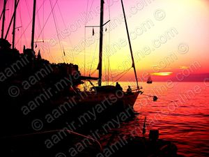 Sunset. Ships at Rovjni. Croatia