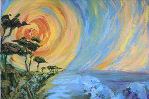 Mary Art: Sun rise over sea