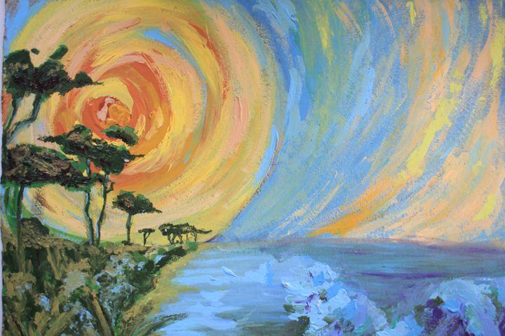 Mary Art: Sun rise over sea - Mary